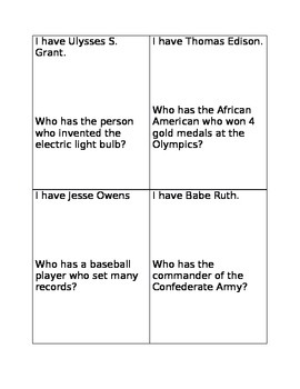 5th Grade Historical Figures Review Game