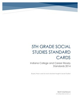 5th Grade History Indiana College & Career Readiness Standards Display Cards