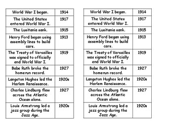 5th Grade History Timeline Packet
