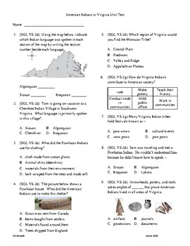 5th Grade American Indians of Virginia Unit Test