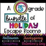 5th Grade Holiday Escape Room Bundle