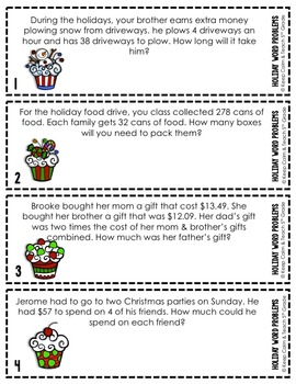 5th Grade Holiday Math Word Problems SCOOT - Add, Subtract, Multiply & Divide