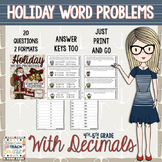 5th Grade Holiday Math Word Problems SCOOT - Add, Subtract