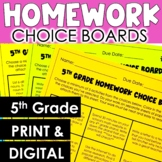 5th Grade Homework Choice Boards - Mixed Subjects