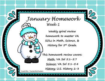 5th Grade Homework - January Week 1