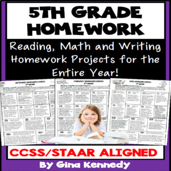 5th Grade Homework, Math, Reading and Writing Homework for the Entire Year!