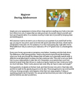 5th Grade Human Growth and Development: Hygiene and Health student packet
