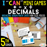 5th Grade I CAN Mini Math Games | Add, Subtract, Multiply,