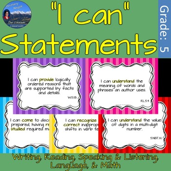 "5th Grade ""I Can"" Statements - Common Core ELA & Math"