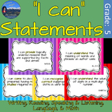 "5th Grade ""I Can"" Statements - Common Core ELA & Math"