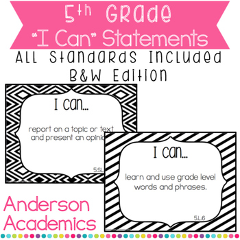 "5th Grade ""I Can"" Statements Bundle: All Standards - Black"