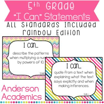 "5th Grade ""I Can"" Statements Bundle: All Standards - Rainb"