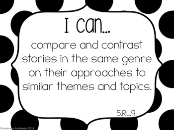 "5th Grade ""I Can"" Statements: ELA Standards - Black and White"