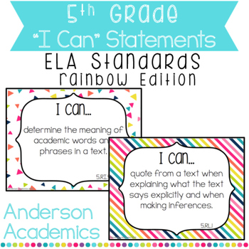 """5th Grade """"I Can"""" Statements: ELA Standards - Rainbow Colors"""
