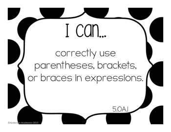 "5th Grade ""I Can"" Statements: Math Standards - Black and White"