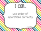 "5th Grade ""I Can"" Statements: Math Standards - Rainbow Colors"