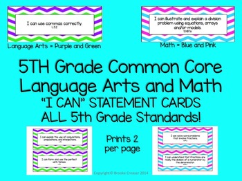 "5th Grade ""I Can"" Statements for BOTH Common Core Language"