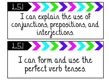 """5th Grade """"I Can"""" Statements for BOTH Common Core Language Arts and Math"""