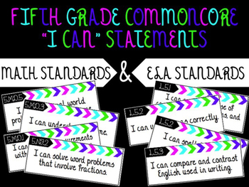 """5th Grade """"I Can"""" Statements for BOTH Common Core Language"""