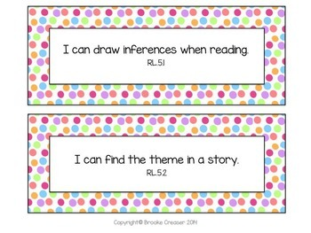 "5th Grade ""I Can"" Statements for Common Core Language Arts"