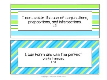 """5th Grade """"I Can"""" Statements for Common Core Language Arts"""