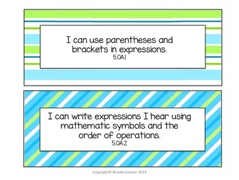 """5th Grade """"I Can"""" Statements for Common Core Math"""