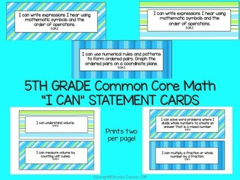 "5th Grade ""I Can"" Statements for Common Core Math"