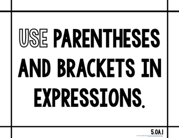 """5th Grade """"I Can"""" Statements for MATH Posters {Full & Half Sheets}"""