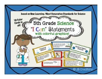 5th Grade I Can Statements for Science (kid friendly with