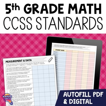 "5th Grade ""I Can"" Student Checklists for CCSS MATH Common Core Standards"
