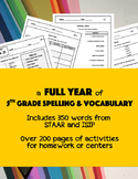 5th Grade ISIP & STAAR Weekly Vocabulary Full Year Pack
