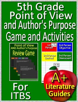 5th Grade ITBS Test Prep Point of View and Author's Purpose Game and  Activities