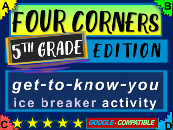 """5th Grade Ice Breaker - """"FOUR CORNERS"""" get-to-know-you game"""