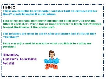 5th Grade Imagine It Unit 1 Bulletin Board Headers