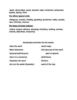 5th Grade Imagine it! Unit 2 Vocabulary Words and Suggetions