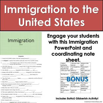 5th Grade Immigration PPT and Activity