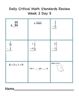 5th Grade Indiana Critical Math Daily Review