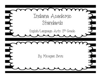 5th Grade - Indiana ELA Standards - B&W Striped