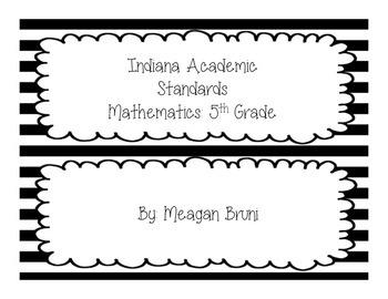5th Grade - Indiana Math Standards - B&W Striped