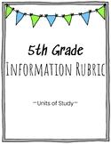 5th Grade Information Writing Rubric