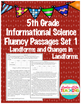 Fluency Passages 5th Grade Informational Science Changes to Landforms