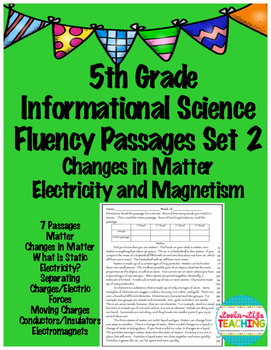 Fluency Passages 5th Grade Fluency Set 2- Matter, Electricity, Magnetism