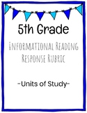 5th Grade Informational Reading Rubric