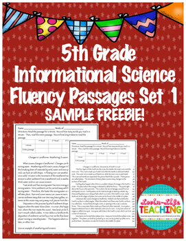 Fluency Passages 5th Grade Informational Science  SAMPLE FREEBIE