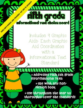 5th Grade Informational Text Choice Board & Graphic Aids ~ Task Card Option