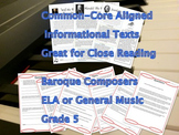 5th Grade Informational Texts + Questions: 3 Baroque Composers