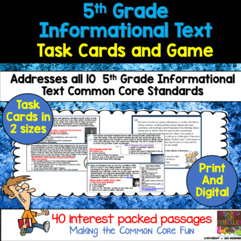 5th Grade Informational Text Task Cards