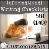 5th Grade Informational Writing Checklist~ EDITABLE