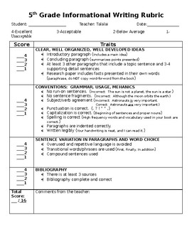 5th grade rubric research paper