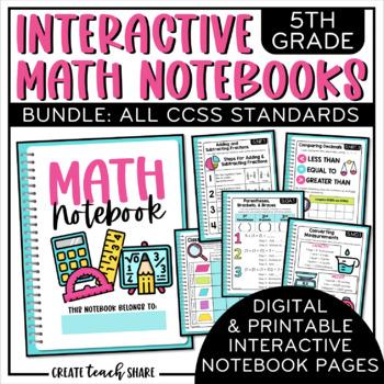 Interactive Math Notebook 5th Grade Bundle By Create Teach